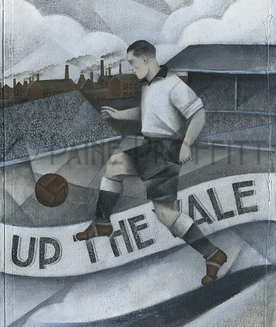 'Up The Vale' painting featuring Port Vale in plain black and white strip kicking a ball in stadium | Paine Proffitt