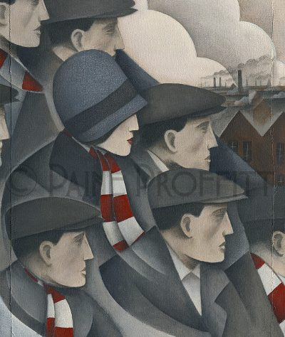 Painting of a small group of fans in red and white scarves at Stoke's Victoria ground | Paine Profitt