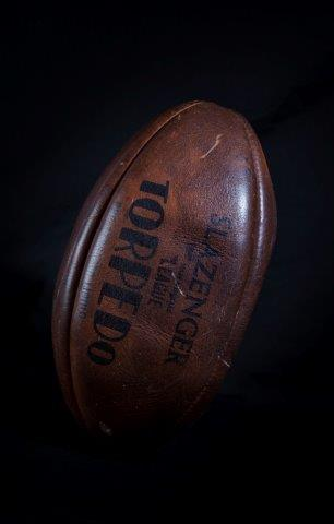 Classic rugby ball with the text Slazenger League Torpedo | Wakefield Museums