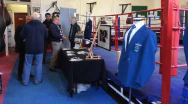 Memorabilia on display in front of a boxing ring | Stirling Archives