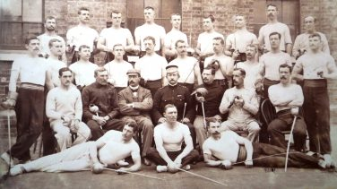 Black and white photo of the 4th Battalion Worcester Regiment fencing team | Courtesy of the National Fencing Museum