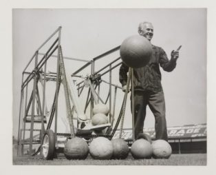 Blackpool FC trainer Alex Wilson with a 'football robot' at Bloomfield Road ground |  Daily Herald Archive/Science Museum Group/SSPL © Mirrorpix/Associated Press