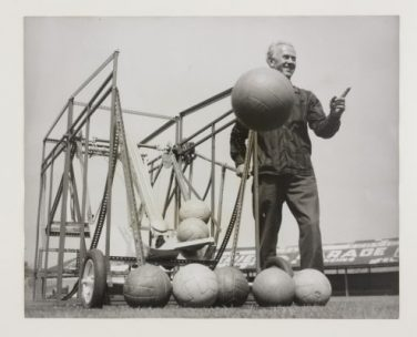 Blackpool FC trainer Alex Wilson with a 'football robot' at Bloomfield Road ground    Daily Herald Archive/Science Museum Group/SSPL © Mirrorpix/Associated Press