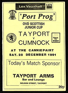 Cover of Tayport FC Matchday Programme dated 28th December 1991 | Tayport F.C. Archive