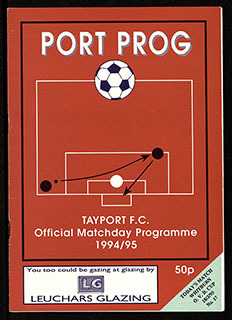 Cover of Tayport FC Matchday Programme dated 1994-1995 with an illustration depicting crossing a ball into the box and striking on goal | Tayport F.C. Archive