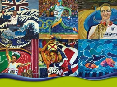 Collage of paintings of various Olympians | Courtesy of Park House school