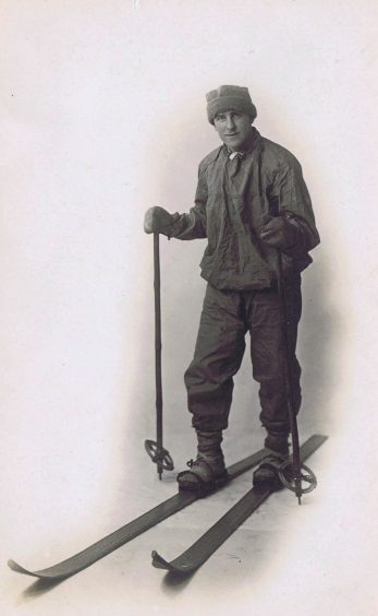 Black and white image of a man with traditional skis and poles   Army Museums