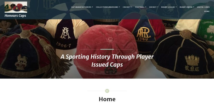 Screenshot of Honours Caps home page   Honours Caps