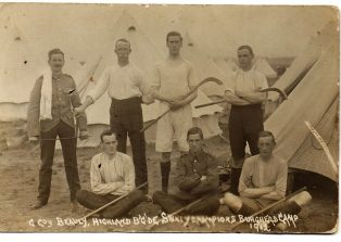 Paterson brothers & shinty team at Cameron Highlanders camp, 1912 | Courtesy of Hugh Dan MacLennan
