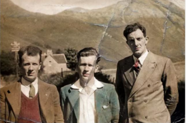 Discoloured old photo of three well dressed men | Courtesy of Hugh Dan MacLennan