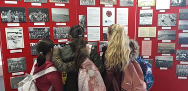 Schoolgirls viewing the Anglesey Sporting Heroes Exhibition | Courtesy of Anglesey Archives