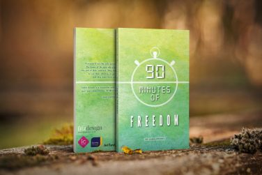 The front and back cover of the book 90 minutes of freedom displayed on a mossy surface | Courtesy of Jamie Grundy