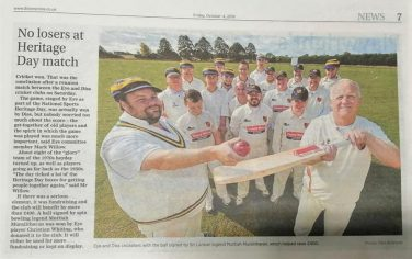 Newspaper cutting featuring an image of cricketers and a piece about National Sporting Heritage Day | Courtesy of Eye & District Cricket Club