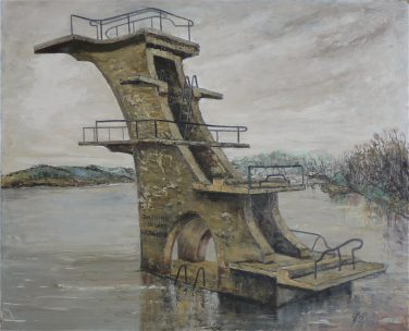 Painting of a diving column with multiple levels over a polluted lake | Courtesy of the Swindon Museum and Art gallery collection