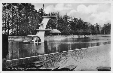 Black and white photo of a diving column in a lake | Courtesy of Swindon Library