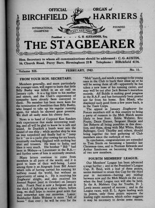 Issue of The Stagbearer from 1942 | Birchfield Harriers