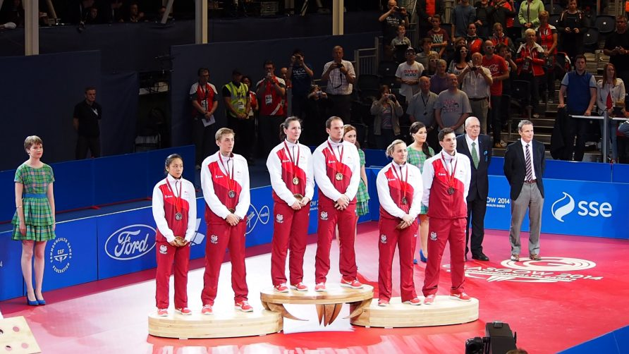 Commonwealth Games Glasgow 2014 Mixed Doubles Bronze, Silver & Gold on the Podium | England Badminton