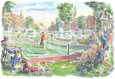 Illustration of tennis players on two courts being watched by other tennis players | Courtesy of Local Tennis Leagues Ltd