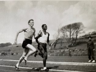 Unknown runners, Aberystwyth University track, mid 50s | Ann Robertson, née Davies