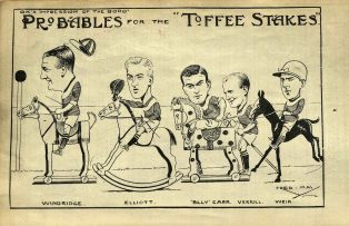 An early twentieth century cartoon of Boro in action by Fred May | courtesy of Pat Webster