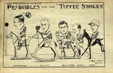 A black and white cartoon depicting five men riding a variety of toy horses | Courtesy of Pat Webster