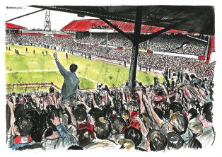 Cartoonist Graeme Bandeira's personal illustrations of Ayresome Park | Courtesy of Dr Tosh Warwick