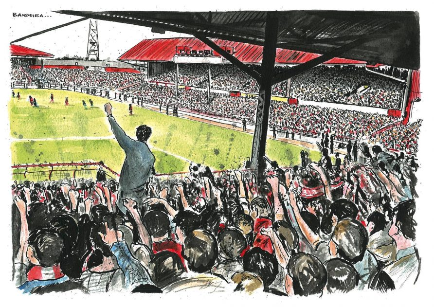 A cartoon depicting a packed stand at a football game at Ayresome Park | Courtesy of Dr Tosh Warwick