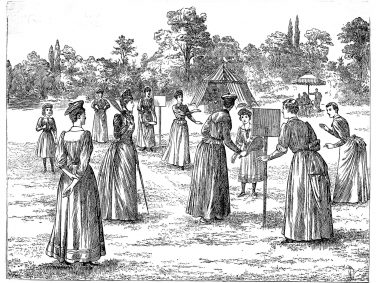 Drawing of stoolball from Girls Own magazine, 1891   Courtesy of Stoolball England