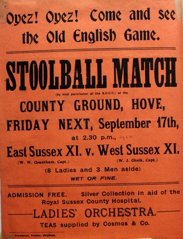 Orange poster promoting a stoolball match   Sussex Archaelogical Society