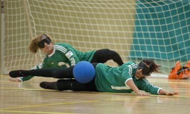 Goalball players in the barrier position | Goalball UK
