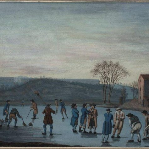 Painting of people playing a curling match on Canonmills Loch | Courtesy of Scottish Curling Trust
