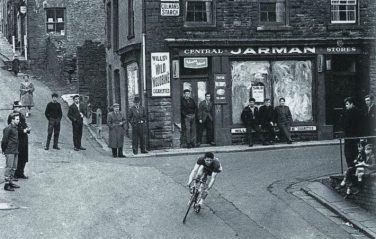 Black and white photo of a road race | Ron Good (Courtesy of Stuart Stanton)