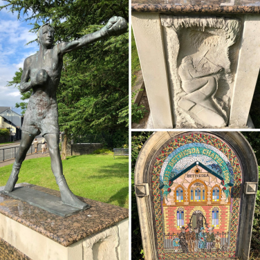 Boxing statue of Eddie Thomas, stone carving and mosaic | Russell Todd