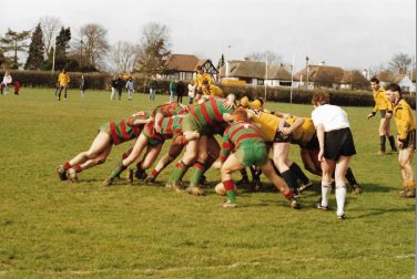 Players from Ealing and Peckham in a scrummage | Courtesy of Julia Lee