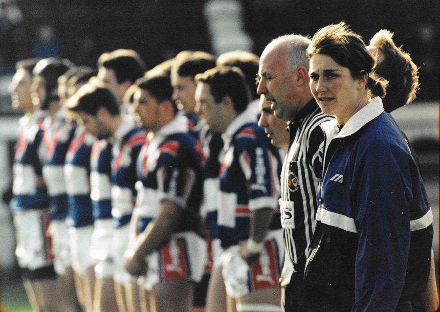Julia Lee, Referee - France v GB U18 Feb 1998 - 4th official    Courtesy of Julia Lee