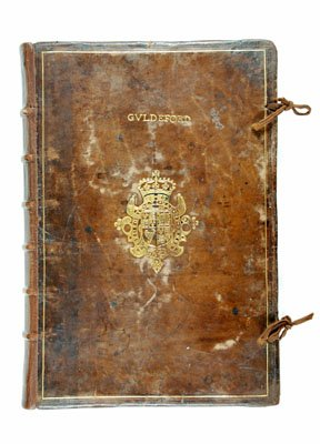 Image of leather bound book cover of the Guildford Guild Merchant and Court Leet Book | Surrey History Centre