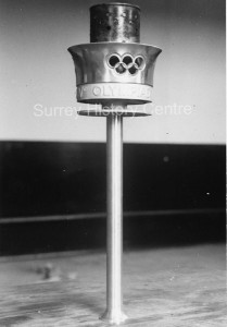 Black and white image of the 1948 Olympic Torch | Surrey History Centre