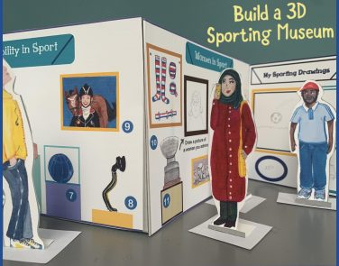 Close up view of the completed 3D sporting Museum | Jessica Hartshorn