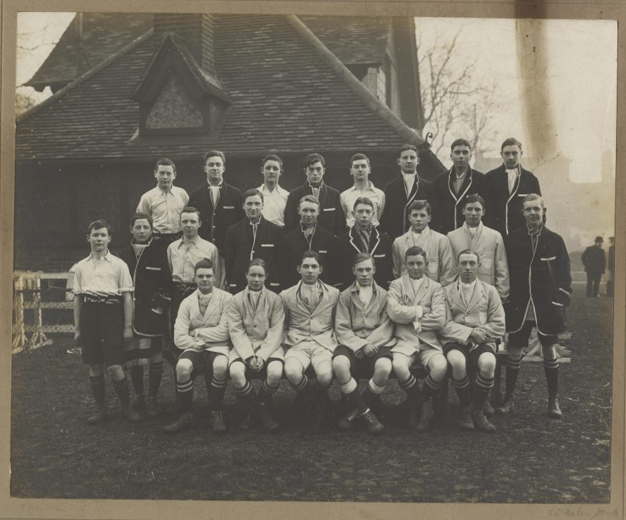 Black and white team photo of the Westminster School football team of 1917 | Westminster School Archive