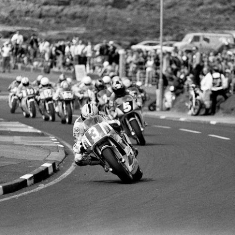 Joey Dunlop leads the 250cc motorcycle race out of York, 1996 | Causeway Coast and Museum Service