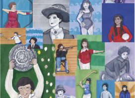 illustrated collage of famous sporting women.