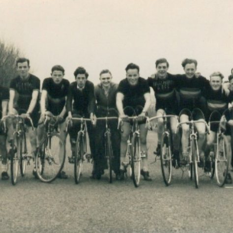 Ballymoney & District Cycling Club, on cycles in road1958 | Causeway Coast and Glens Museum Service