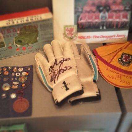 Pair of signed gloves of former Wales goalkeeper Paul Jones (50 caps, 1997-2006) on display at Wrexham Museum