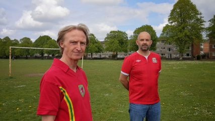 Expo'r Wal Goch organisers Tim Hartley and Russell Todd pictured in classic Wales shirts