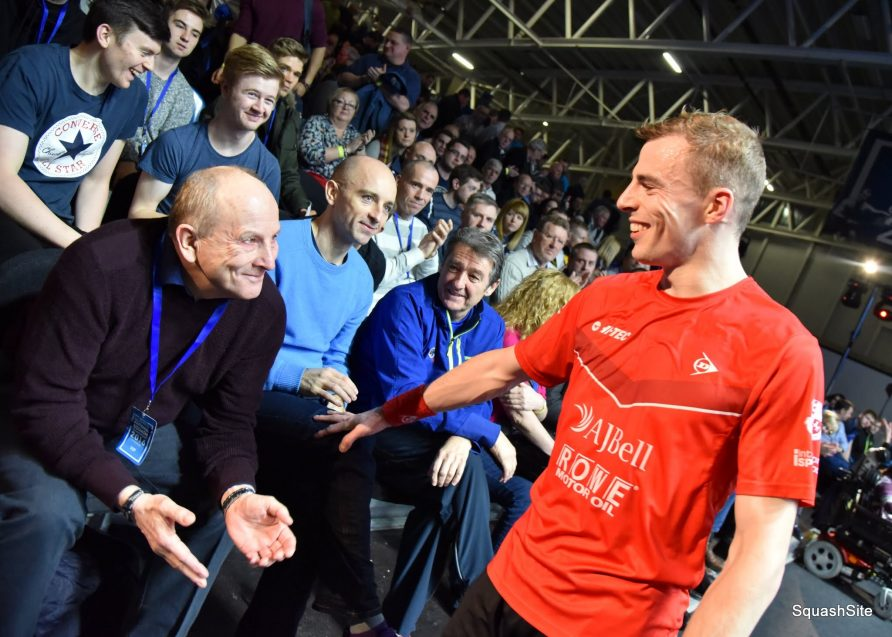 Squash player, Nick Matthew greeting his father, Hedley in front row of watching crowd. | Courtesy of Hedley Matthew