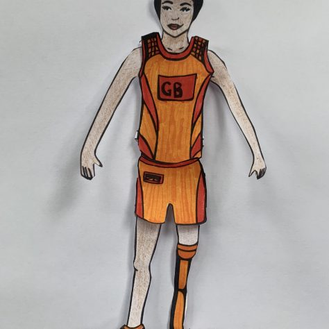Illustrated and coloured cutout of a female paralympic athlete   Jessica Hartshorn