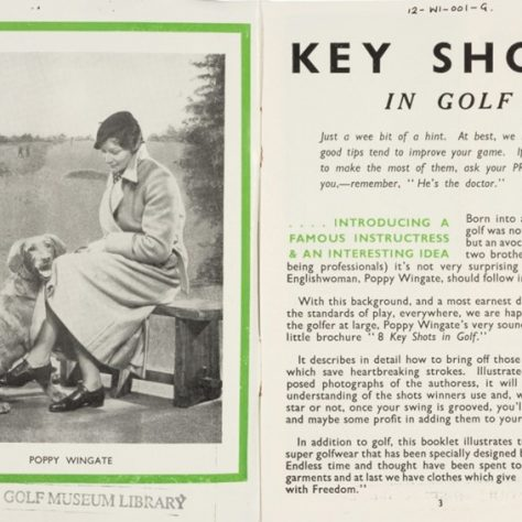 8 Key Shots in Golf by Poppy Wingate, 1936. Inside Cover.   R&A World Golf Museum