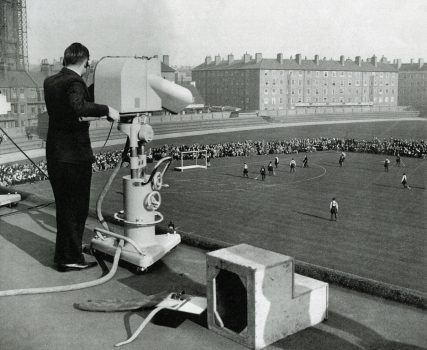 BBC television cameras film the England vs Wales hockey match from the roof of the Oval in 1938   The Hockey Museum