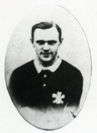 Black and white image of Billy Spiller in Wales shirt.