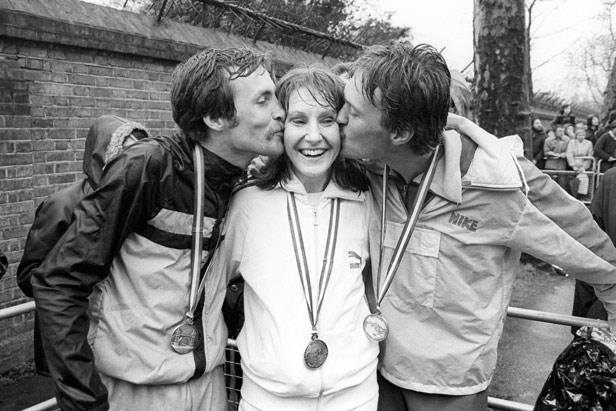 Joyce Smith, London Marathon Winner, 1981 (with Dick Beardsley, left & Inge Simonsen, right)   Courtesy of Watford Museum
